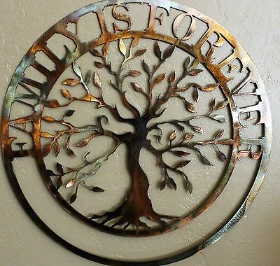 """Family is Forever Olive Tree Metal Wall Art 20"""""""