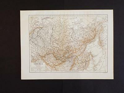 OLD VINTAGE MAP OF SIBERIA & NORTHERN CHINA - ANTIQUE PRINT c1910