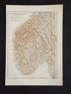 OLD VINTAGE MAP OF SOUTHERN NORWAY  - ANTIQUE PRINT c1910