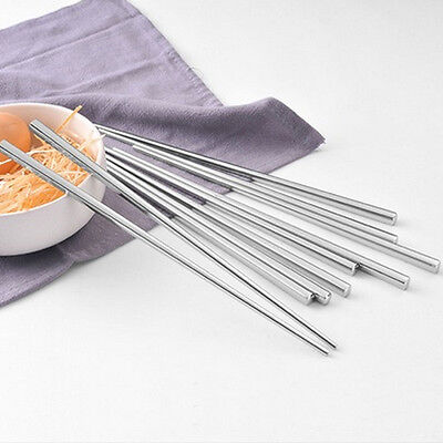 Durable 5 Pairs Stainless Steel Square Chopsticks Chop Sticks Move Home Gift