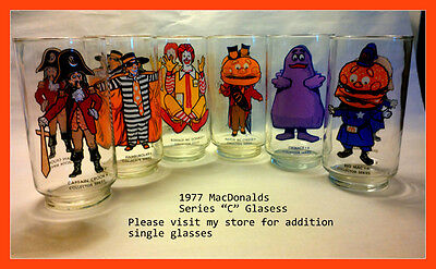"Complete Set of 6 Vintage McDonald's Collector Series ""C"" Glasses, from 1977"