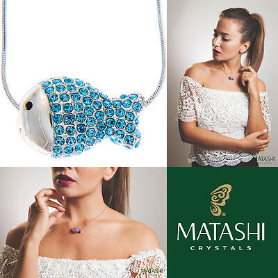 "16"" Rhodium Plated Necklace w/ Fish Design & Ocean Blue Crystals by Matashi"
