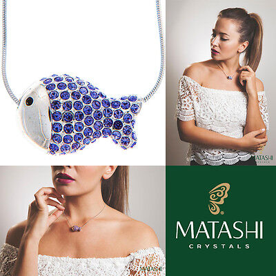 "16"" Rhodium Plated Necklace w/ Fish Design & Quality Purple Crystals by Matashi"