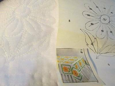 Tri-Chem Daisy Garden Quilt Blocks OR Pillow Cover #7560- 12 Inches Square-To Pa