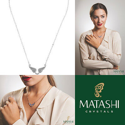 "16"" Rhodium Plated Necklace w/ Outspread Angel Wings & Clear Crystals by Matashi"