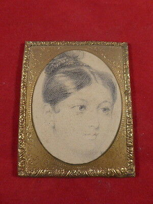 ANTIQUE MINIATURE PORTRAIT DRAWING OF YOUNG VICTORIAN LADY IN GILT FRAME c1880