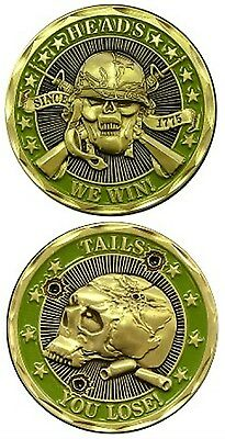 Military Marines Challenge Coin Heads We Win Tails You Lose New Scull Crossbone