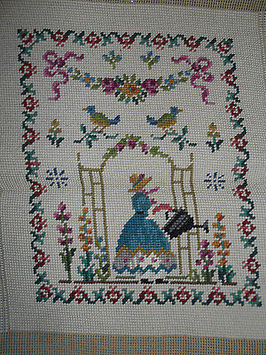 VTG Needlepoint Sampler Crinoline Lady in English Garden Finished