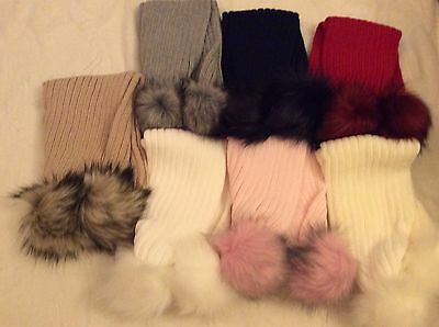 Kinder Faux Fur Pom Scarf Ages 1-4 & 5-8 Years Asstd Colours with match Poms New