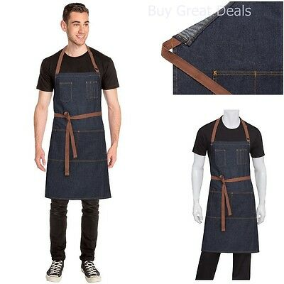 Indigo Blue Men Chef Apron Cotton Denim Fabric Cooking/baking Kitchen Outfit NEW