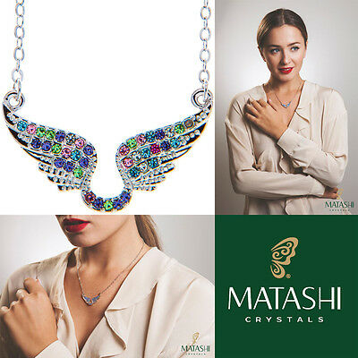 "16"" Rhodium Plated Necklace w/ Angel Wings & Multi-Colored Crystals by Matashi"