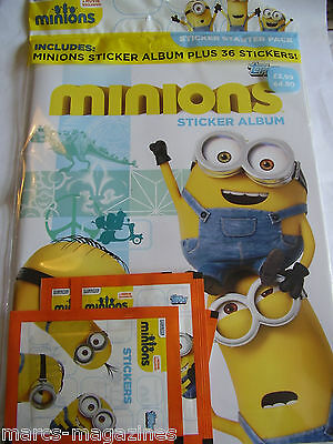 Rare Topps Movie Minions Sticker Album Book Sealed With 36 Stickers Starter Pack