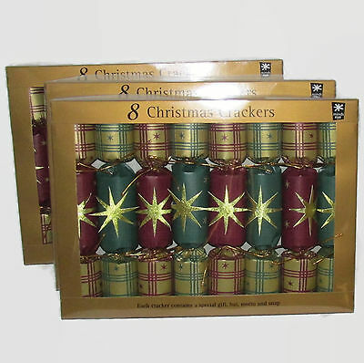 Gold Green Red Plaid Stars 3 boxes/24 pc total Christmas Holiday Crackers Popper