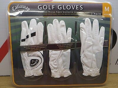 New Callaway Left Hand Golf Gloves 3 Pack White S, M, L, M/L Micro-Fiber A26