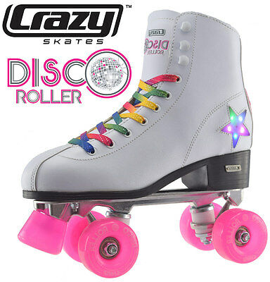 Crazy Disco Girls / Ladies Recreational High Top Roller Skates - White - Size 40