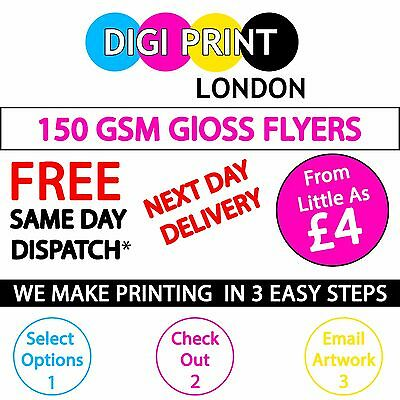 Flyers / Leaflets Printed On 150gsm Gloss - A6/ A5/ A4/ A3 - DELIVERED TOMORROW