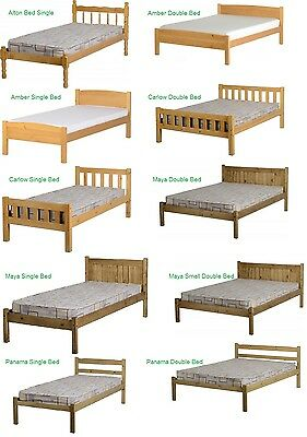 New Mexican Pine Wood Bed Frames Panama, Alton, Maya, Carlow Single, 4FT, Double