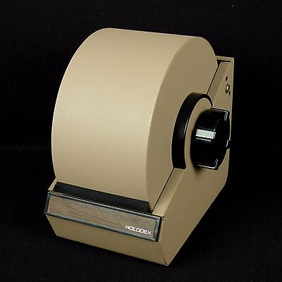 Vintage Rolodex Model 2254 Tan Metal Rotary Roll Top Index Card File with Cards