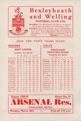 Bexleyheath & Welling v. Arsenal 30/3/1959 Friendly