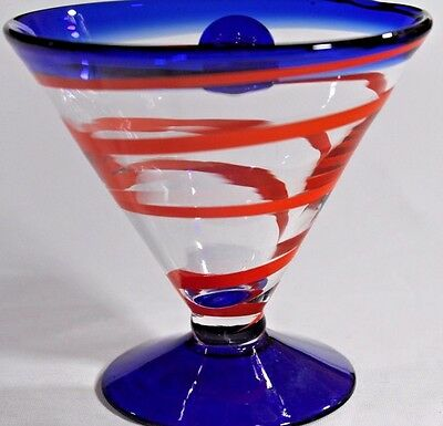 COBALT BLUE Orange SWIRL Wide MARTINI GLASS Hand Blown Art