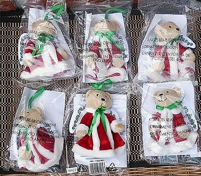 """6 Avon Angel Bear Ornaments 5"""" Christmas Tree Plush New In Package Holiday"""