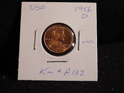 Usa:   1956 D   Lincoln Wheat Cent Coin  (Unc.) (#178)    Km # A132