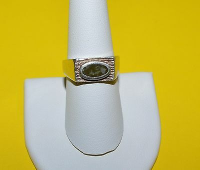 Antique Irish Signed Sterling Silver And Connemara Marble Ring Size 8