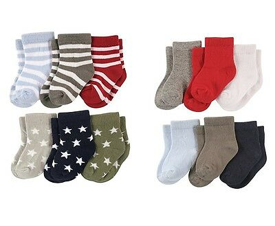 Luvable Friends 6-Pack Baby Boys Colored Crew Socks 0-6 6-12 12-24 Months New