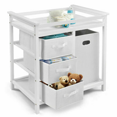 White Infant Baby Changing Table 3 Basket Hamper Diaper Daycare Storage Nursery