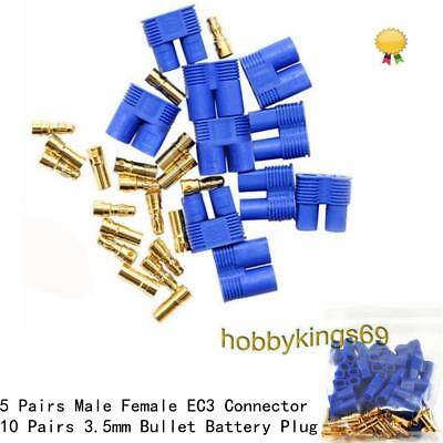 5 Pairs Male Female EC3 Style Connector &10 Pairs 3.5mm Gold Bullet Battery Plug