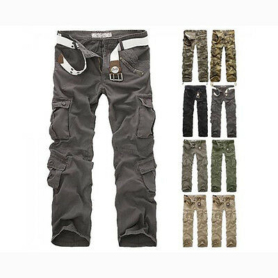 Combat Men's Cotton Cargo Army Pants Military Camouflage Camo Trousers Outdoor#A