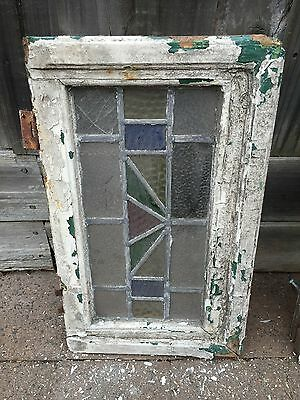 Antique Old English Leaded  Stained Glass Window #18