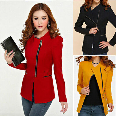 Women Casual Solid Slim Suit Long Sleeve Zipper Suit Coat Jacket Blazer Tops New