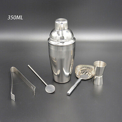 350ml Stainless Steel Cocktail Shaker Mixer Drink Bartender Kit Bars Tools GT