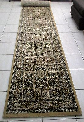New Extra Long Beige Persian Design Heatset Floor Hallway Runner Rug 80X500Cm