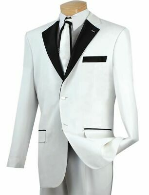 Men's White Classic-Fit Formal Tuxedo Suit w/ Black Sateen Lapel & Trim NEW Prom