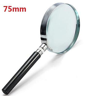 Portable 5X Handheld Handy Magnifier Magnifying Glass Lens Magnification 75mm *