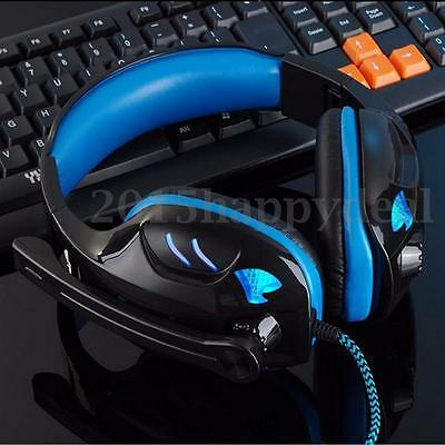 USB Stereo 7.1 Surround PC Computer Gaming Headset Headphone Mic Blue/Red Light