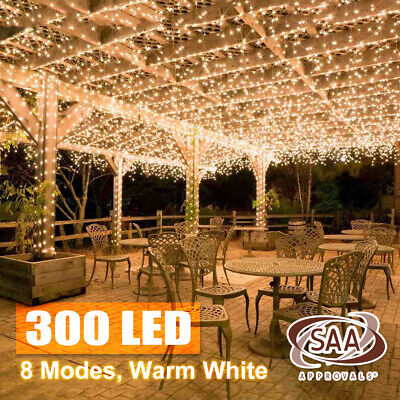 300 LED Warm White String Fairy Lights Christmas Tree Xmas Party Wedding AU