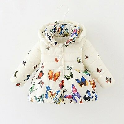 Toddler Baby Winter Warm Cotton Jacket Butterfly Coat Kids Girls Outerwear 0-24M