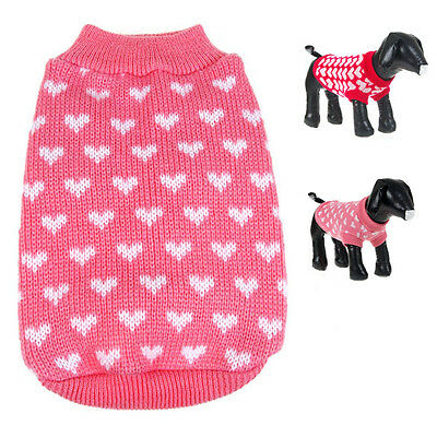 Cute Warm Knitted Jumper Pet Dog Sweater Puppy Cat Coat Jacket Winter Clothes