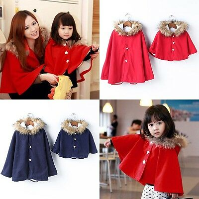 Christmas Mother Daughter Kids Hooded Jacket Winter Coat Cloak Poncho Outwear