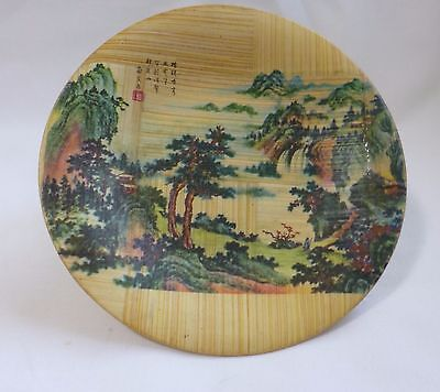 Handcrafted Chinese small wood plate Dia 10.6cm for home decory or collection