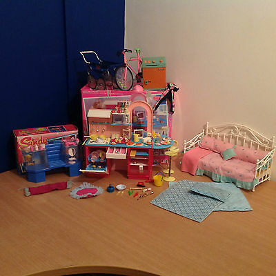 Vintage 1980's Sindy Bundle Sindy Kitchen Cafe Beauty Centre Bed Bike Pram More