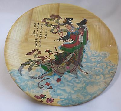 Handcrafted Chinese big wood plate Dia15.6cm for home decory or collection