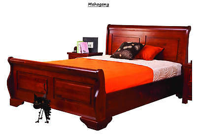 Sweet Dreams Jackdaw Sleigh Bed Frame Mahogany Solid Wood 135cm Double 4FT6