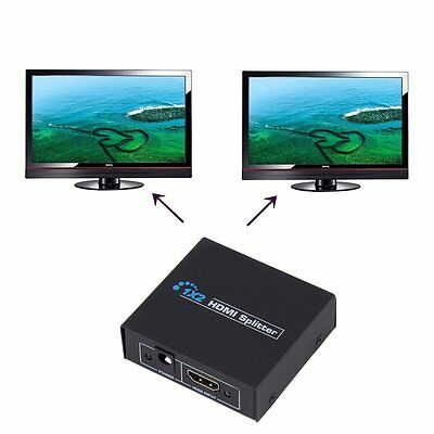 HDCP 1080P 1 in 2 Out HDMI Splitter Amplifier Dual Display For HDTV DVD PS3 AO