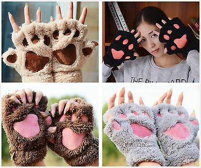 Lovely Women Cat Claw Paw Mitten Plush Glove Costume Cute Winter Half Finger AO