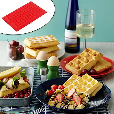 Safety 4-Cavity Waffles Cake Chocolate Pan Silicone  Baking Mould Donut Maker AO