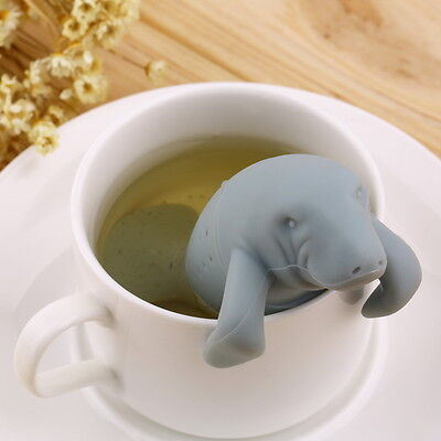 Silicone Manatee Diffuser Infuser Loose Tea Leaf Strainer Herbal Spice Filter AO